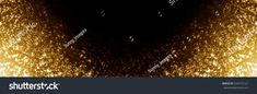Gold Christmas Lights. Abstract Background. Panorama