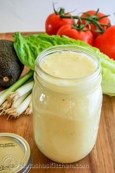 Perfect Creamy Caesar Dressing Recipe 2 tbsp mayo 2 tsp Dijon mustard 2 lg garlic cloves, pressed C lemon juice (about 3 lemons) 1 tsp salt tsp freshly ground black pepper 1 cups mild olive oil cup shredded Parmesan cheese Combine in food . Do It Yourself Food, Homemade Dressing, Homemade Ceasar Salad Dressing, Easy Ceasar Salad Dressing, Mayo Salad Dressing, Creamy Salad Dressing, Ranch Dressing, Salad Dressing Recipes, Caesar Dressing Recipe No Anchovies