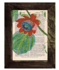 Flower painting on a page from an old book.