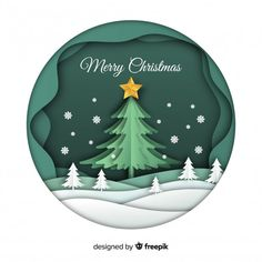 Merry christmas background in paper art style Free Vector Christmas Wishes Messages, Happy Christmas Wishes, Merry Christmas Background, Christmas Images, Christmas Design, Christmas Art, Christmas Jesus, Merry Christmas Poster, Xmas
