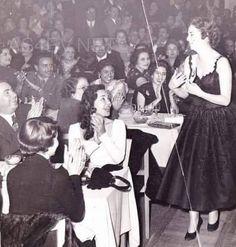 1956s - Egyption actressفاتن حمامة أثناء تكريمها في حفل الأناقة عام ١٩٥٦ و ماجدة