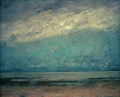 GUSTAVE COURBET, Normandy Seascape, 1865‑6 Oil on canvas, 54 x 64 cm, Wallraf-Richartz-Museum, Cologne.Unlike Jongkind's tranquil harbour scene, and contrasting with Monet's several paintings of the beach at Sainte-Adresse Courbet's views feature the immensity of sea and sky in the tradition of the Romantic sublime.