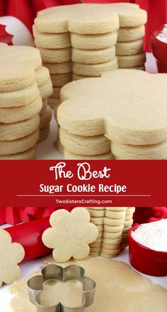 The Best Sugar Cookie Recipe - easy to make, soft, delicious and keeps the shape of the cookie cutter every single time. You family will beg you to make these yummy homemade Sugar Cookies again and again. Pin this super great Sugar Cookie for later and follow us for more great Cookie Recipe ideas. #SugarCookies #BestSugarCookieRecipe #SugarCookieRecipes #Cookies #FrostedCookies #TwoSistersCrafting