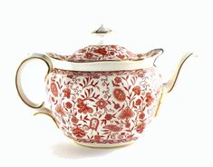 Royal Crown Derby Porcelain Rougement Pattern Teapot and Cover - Red on white pattern with gold gilt - Mid to late 20th century English china tea pot