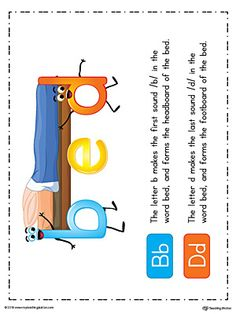 **FREE** b-d Letter Reversal Teaching Poster Using the Word Bed in Color Worksheet.Teaching your child the difference between lowercase letters b and d to avoid or correct reversal problem using the word BED with this printable poster. Dyslexia Activities, Letter Activities, Phonics Activities, Letter Worksheets, Phonics Worksheets, Writing Worksheets, Kindergarten Worksheets, Teaching Posters, Teaching Phonics