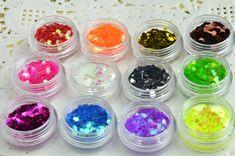 12 pots in ONE Hexagonal Acrylic Nail Art Glitter by iArtSupplies, $7.20
