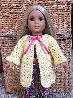 This darling little sweater works up quickly and is beginner friendly! American Girl Textured Buttercup Sweater pattern by Patricia Klonoski Cheryl Grosick cherylgrosick Baby doll clothes This darling little sweater works up quickly and is beginner American Doll Clothes, Baby Doll Clothes, Crochet Doll Clothes, Doll Clothes Patterns, Doll Patterns, Knitting Patterns, Crochet Patterns, Knitting Projects, Crochet Ideas