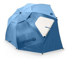 Quick shade protection from sun, wind, and rain   Easiest setup sun shelter available thanks to folding umbrella action   Rugged umbrella structure with side flaps for full cover protection   Top wind vents and side zippered windows for efficient airflow   Maximum sun protection UPF 50+ and water repellant   Offers protection from over 99.5 percent of UVA and UVB rays