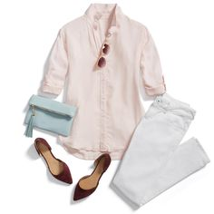 Seeing Saturday through rose-colored hues! Wake up your weekend style with preppy pastels & bright white denim. #StylistTip