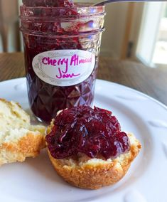 Dimples & Delights: Sour Cherry Almond Jam Cherry Jam Recipes, Fruit Recipes, Dessert Recipes, Recipies, Veggie Recipes, Almond Jelly, Sour Cherry Jam, Bread Jam, Jam And Jelly
