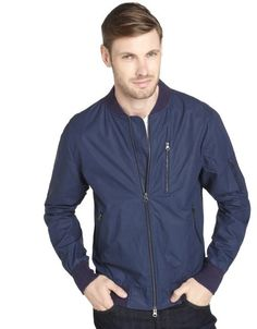 $195, Anchor Navy Reeve Cotton Bomber Jacket by Paper Denim & Cloth. Sold by Bluefly. Click for more info: http://lookastic.com/men/shop_items/163123/redirect