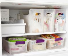 Put food in labeled bins to use your freezer space more efficiently.
