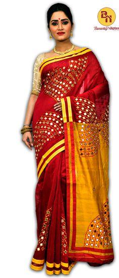 Glittering mirror work silk sarees online from banarasiniketan.com. #saree #silk #silksaree #shopping #onlineshopping #fashion #ethnic