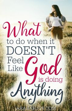 Do you struggle with seasons of waiting, not knowing what to do and wondering what God is doing? What to do when it doesn't feel like God is doing anything.
