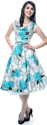 Turquoise Hydrangea Scoop Neck Belted Swing Dress $124.00 Store: Unique Vintage