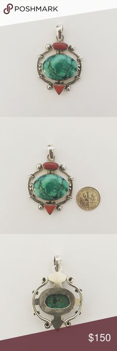 Sterling Silver Turquoise and Coral Pendant This is a very nice sterling silver turquoise and Coral Pendant Jewelry Necklaces