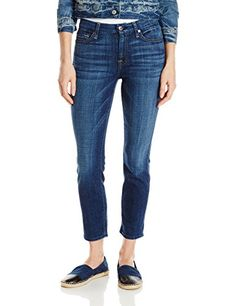 7 For All Mankind Womens Kimmie Crop Jean in Brillian Brilliant Blue Broken Twill 28 *** Check out this great product.(This is an Amazon affiliate link)