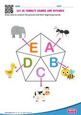 Phonic Match Beginning Sounds Worksheets, English Worksheets For Kindergarten, Kids Math Worksheets, Preschool Phonics, Preschool Writing, Free Printable Alphabet Worksheets, Phonics Sounds, English Phonics, Learning English For Kids