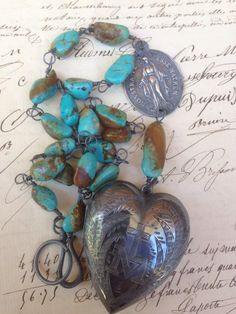 MONSTRA te ESSE MATREM - Terrific French Ex Voto and Turquoise Necklace
