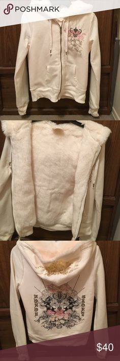 Express faux fur sweatshirt Express faux fur sweatshirt.  Extremely soft and comfortable zip up sweatshirt in beige.  Worn only a couple times. Express Sweaters