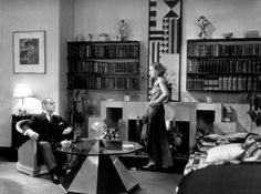 Cedric Gibbons set design in the 1929 film 'The Kiss', starring Greta Garbo.