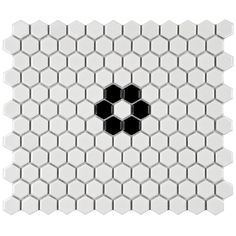 SomerTile 10.25x11.75-in Victorian Hex 1-in Glossy White with Flower Porcelain Mosaic Tiles (Pack of 10) | Overstock.com