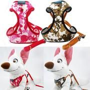 Pet Harness with Leash Lead Cat Dog Puppy Vest  Soft Mesh Fabric Adjustable Safe Harness Lead Leash with Clip Camo Color