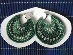 argolla de encaje de ganchillo y cuentas de cristal pendientes hilo,cuentas de cristal,argolla de bisutería ganchillo
