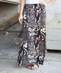 Black & Brown Jungle Maxi Skirt - Women #zulily #zulilyfinds
