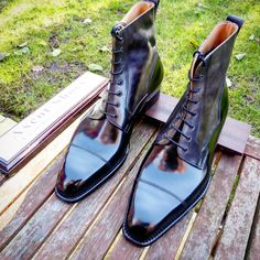 Ascot Shoes — A little twist to a pair of high boots with grey...