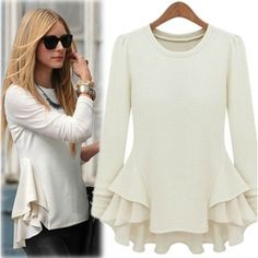 AUD12.29Fashion O Neck Long Sleeve White Cotton Blouse