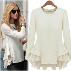 $9.99Fashion O Neck Long Sleeve White Cotton Blouse
