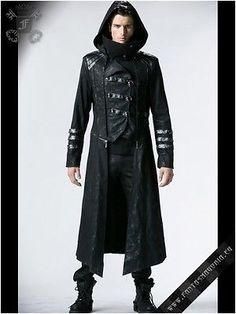 Punk rave scorpion mens long #black gothic #steampunk hooded trench coat #y-364,  View more on the LINK: http://www.zeppy.io/product/gb/2/231984590720/