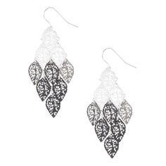 Silver and Black Filigree Leaves Drop Earrings