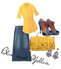 """Blue and Yellow"" by thecountryhandmaiden on Polyvore"