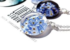 Real Flowers, Blue Flowers, Clear Casting Resin, Australian Gifts, Unique Gifts For Women, Forget Me Not, Unique Necklaces, Flower Necklace, Resin Jewelry