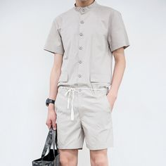 Summer men's new stand collar short-sleeve shirt slim jumpsuit one piece jumpsuit overalls teenage handsome uniform pants