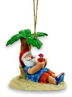 Santa Tropical Island Beach Palm Holiday Christmas Ornament | eBay