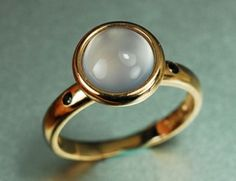 Custom Made Engagement Ring - 2 Carat Moon Stone Ring With Garnet In 14k Rose Gold by Ashdone Jewelry