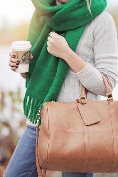 chunky green scarf