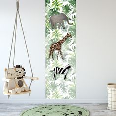 Een kinderkamer muursticker met jungle dieren in leuke jungle / botanische stijl.