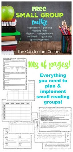 FREE Complete Small Group Toolkit from The Curriculum Corner organization planning recording forms fluency comprehension word work sight words graphic organizers HUGE C. Small Group Reading, Guided Reading Groups, Reading Centers, Guided Math, Reading Workshop, Teaching Reading, Reading Activities, Reading Resources, Literacy Centers