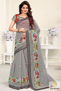 A good looking grey chanderi silk saree for new year 2016 party and wedding season special best unique designer product. This is decorated with print and embroidery work on saree with retailer or wholesaler prices seller. #sarees, #saree, #sari, #wedding, #partywear, #sareeonline, #buysaree, #sareewithblouse, #designersaree, #weddingwearsaree, #silksaree, #chanderisaree More : http://www.pavitraa.in/store/party-wear-saree/ Call / WhatsApp : +91-76982-34040 E-mail: info@pavitraa.in