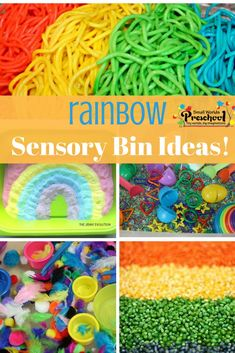 This post is full of colorful rainbow sensory bin ideas to brighten your day any time! With St. Patrick's Day and spring right around the corner, we are focusing on everything rainbow theme for preschool! Sensory Bins, Sensory Activities, Sensory Play, Educational Activities, Preschool Activities, Preschool Scavenger Hunt, Preschool Themes, Preschool Learning, Toddler Preschool