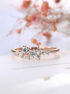 Rose Gold Engagement Ring Diamond Cluster ring Flower Wedding