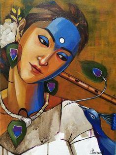 Krishna Radha, Acrylic Canvas, Indian Art, Art Drawings, Disney Characters, Fictional Characters, Paintings, Disney Princess, Indian Artwork