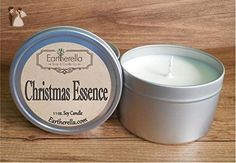 CHRISTMAS ESSENCE Natural Soy Wax 11 oz. Tin Candle, long 60+ hour burn time, Christmas, pine, eucalyptus, holiday, gift, present - Venue and reception decor (*Amazon Partner-Link)