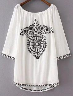 Retro Embroidery Scoop Neck Long Sleeve Dress