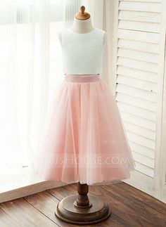 [AU$80.00] A-Line/Princess Ankle-length Flower Girl Dress - Satin/Tulle Sleeveless Scoop Neck