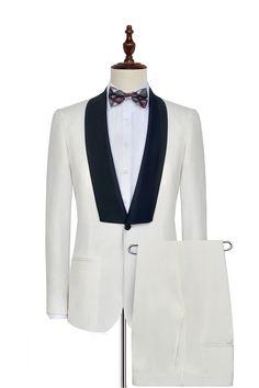 White black knife collar wedding suit